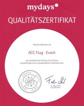 mydays Qualitätszertifikat für ACC Flug | Event Köln-Bonn